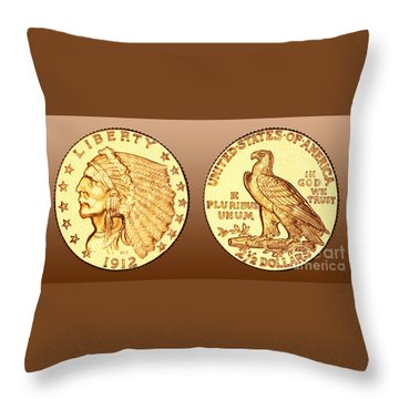 Throw Pillows Under 5 Dollars : 1912 2.5 Gold Dollar Photograph by Jim Carrell