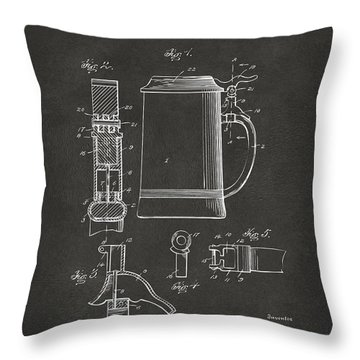 1914 Beer Stein Patent Artwork - Gray Throw Pillow by Nikki Marie Smith