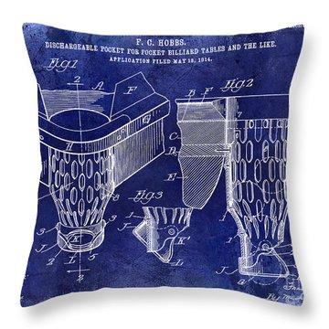 1914 Billiard Pocket Patent Drawing Blue Throw Pillow