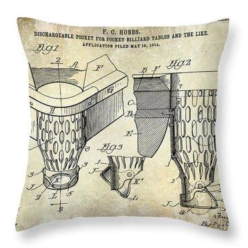 1914 Billiard Pocket Patent Drawing Throw Pillow
