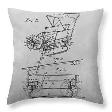 1914 Go Cart Patent Drawing Throw Pillow