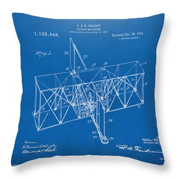 Throw Pillow featuring the drawing 1914 Wright Brothers Flying Machine Patent Blueprint by Nikki Marie Smith