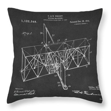 Throw Pillow featuring the drawing 1914 Wright Brothers Flying Machine Patent Gray by Nikki Marie Smith