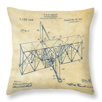 Throw Pillow featuring the drawing 1914 Wright Brothers Flying Machine Patent Vintage by Nikki Marie Smith