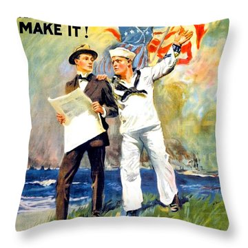 1917 - United States Navy Recruiting Poster - World War One - Color Throw Pillow