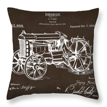 Throw Pillow featuring the drawing 1919 Henry Ford Tractor Patent Espresso by Nikki Marie Smith