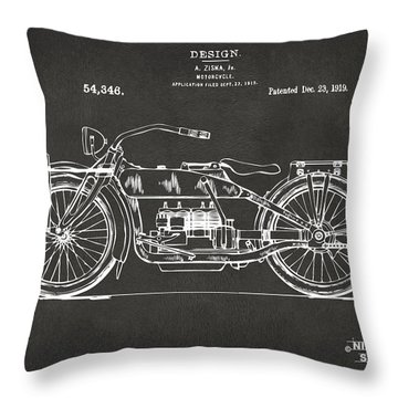 1919 Motorcycle Patent Artwork - Gray Throw Pillow