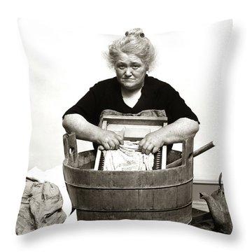 1920s 1930s 1940s Senior Woman Washing Throw Pillow
