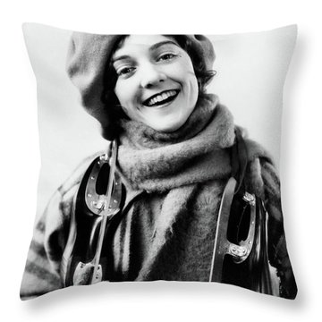 1920s 1930s Smiling Woman Dressed Throw Pillow