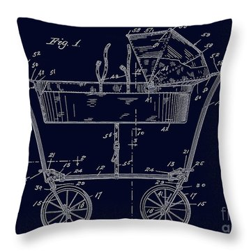 1922 Baby Carriage Patent Art Blueprint Throw Pillow