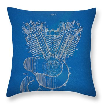 Throw Pillow featuring the digital art 1923 Harley Davidson Engine Patent Artwork - Blueprint by Nikki Smith