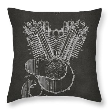 1923 Harley Engine Patent Art - Gray Throw Pillow by Nikki Marie Smith