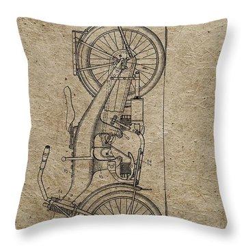 1924 Harley Davidson Patent Throw Pillow