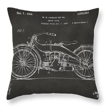1924 Harley Motorcycle Patent Artwork - Gray Throw Pillow by Nikki Marie Smith