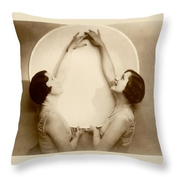 1925 Art Deco Porcelain Plate Throw Pillow