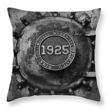 1925 Locomotive Train Engine Throw Pillow by Carrie Cranwill