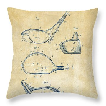 1926 Golf Club Patent Artwork - Vintage Throw Pillow by Nikki Marie Smith