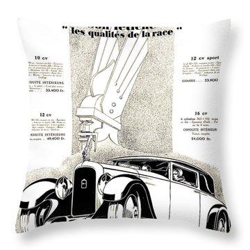 1928 - Delehaye Automobile Advertisement Throw Pillow