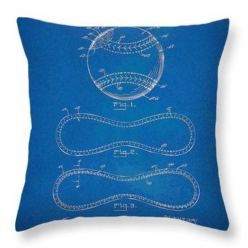 1928 Baseball Patent Artwork - Blueprint Throw Pillow