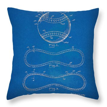 1928 Baseball Patent Artwork - Blueprint Throw Pillow by Nikki Smith