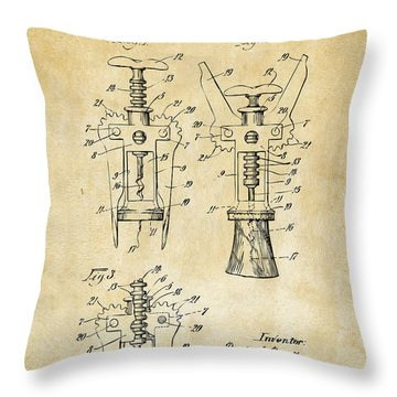 1928 Cork Extractor Patent Art - Vintage Black Throw Pillow by Nikki Marie Smith