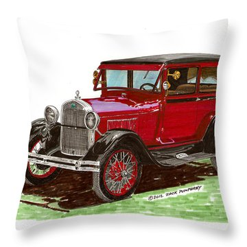 1928 Ford Model A Two Door Throw Pillow by Jack Pumphrey