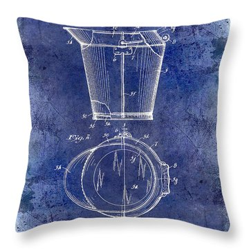 1928 Milk Pail Patent Drawing Blue Throw Pillow