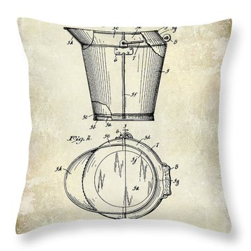 1928 Milk Pail Patent Drawing Throw Pillow