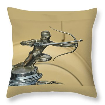 1928 Pierce Arrow Helmeted Archer Hood Ornament Throw Pillow
