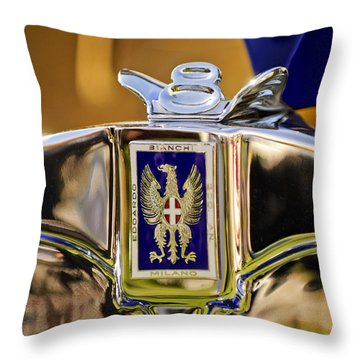 1929 Bianchi S8 Graber Cabriolet Hood Ornament And Emblem Throw Pillow by Jill Reger