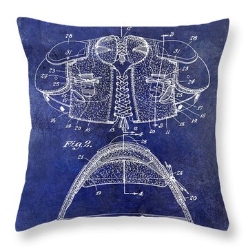 1929 Football Shoulder Pads Patent Drawing Blue Throw Pillow