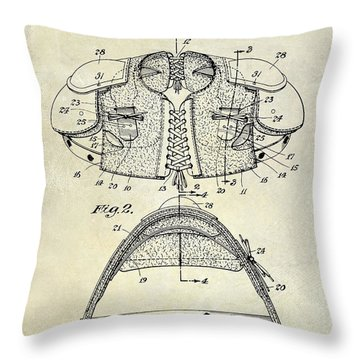 1929 Football Shoulder Pads Patent Drawing Throw Pillow