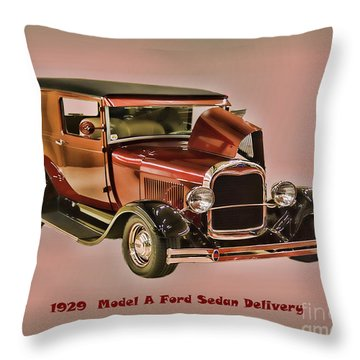Throw Pillow featuring the photograph 1929 Ford Model A Retro Image by B Wayne Mullins