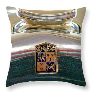 1930 Desoto K Hood Ornament Emblem Throw Pillow by Jill Reger
