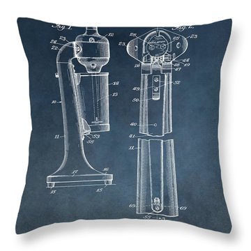 1930 Drink Mixer Patent Blue Throw Pillow by Dan Sproul