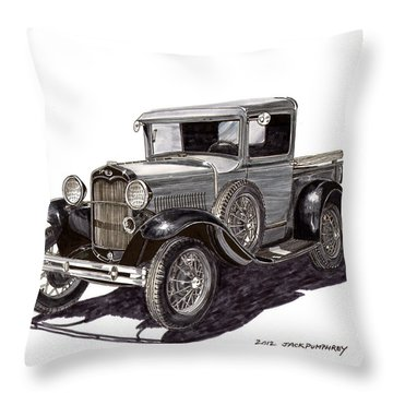 1930 Ford Model A Pick Up Throw Pillow by Jack Pumphrey