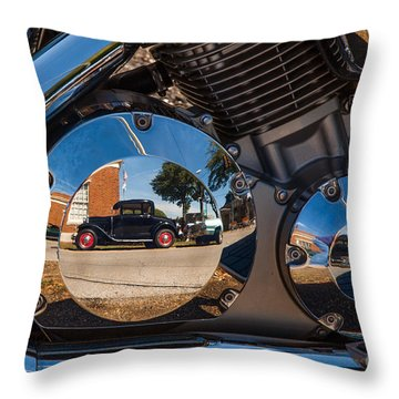1930 Ford Reflected In 2005 Honda Vtx Throw Pillow