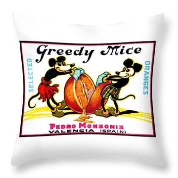 1930 Greedy Mice Crate Label Throw Pillow by Historic Image