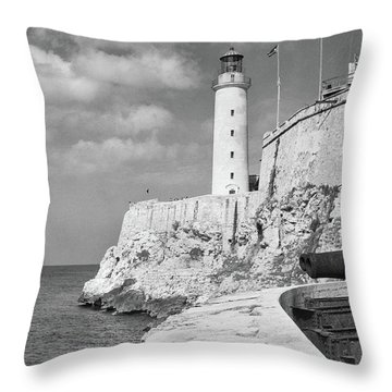 1930s 1940s Lighthouse At Morro Castle Throw Pillow