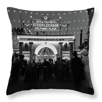 1930s 1940s Night Lights Amusement Park Throw Pillow