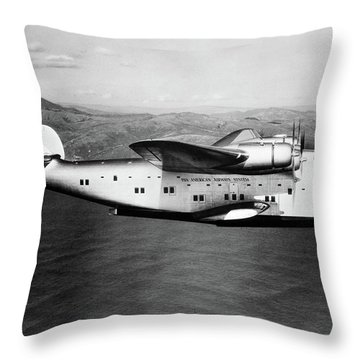 1930s 1940s Pan American Clipper Flying Throw Pillow