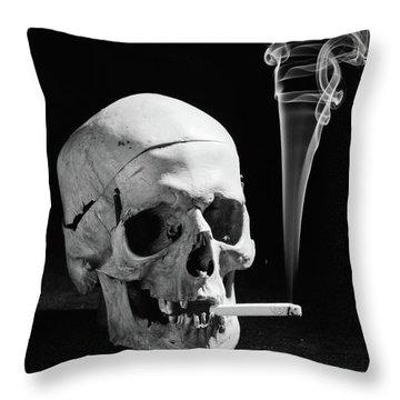 1930s Human Skull Smoking A Cigarette Throw Pillow