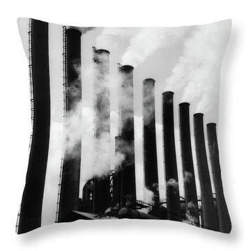 1930s Smoke Stacks At Factory Throw Pillow