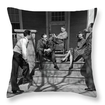 1930s Three Men Courting A Women Throw Pillow