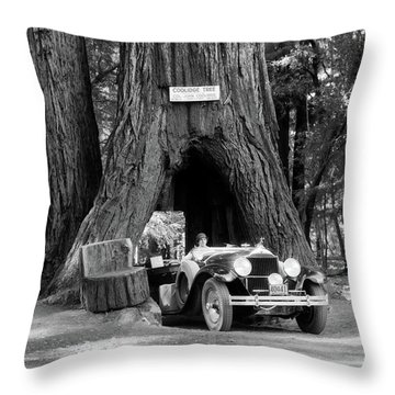 1930s Woman Driving Convertible Car Throw Pillow