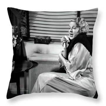 1930s Woman Sneezing Coughing With Cold Throw Pillow