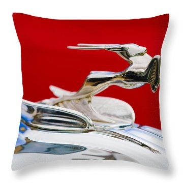 Throw Pillow featuring the photograph 1931 Chrysler Coupe Hood Ornament by Jill Reger