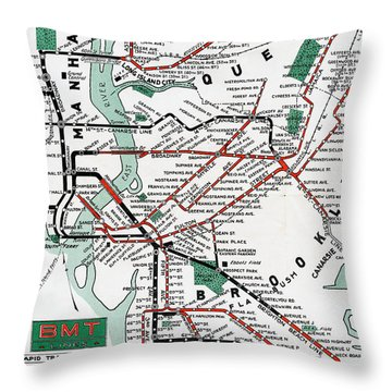 Throw Pillow featuring the photograph 1931 Map Brooklyn Manhattan Transit by BMT Lines