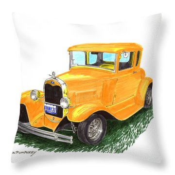 1931 Yellow Ford Coupe Throw Pillow by Jack Pumphrey