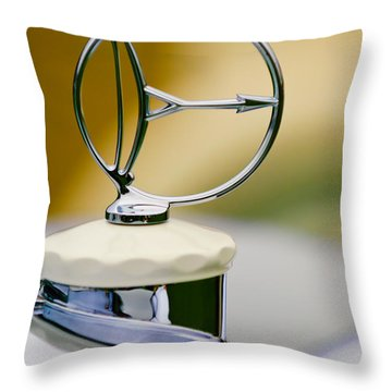 1932 Austro Daimler 635 Armbruster Sport Bergmeister Cabriolet Hood Ornament Throw Pillow by Jill Reger